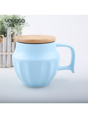 Ceramic Cup with Cover Pastel Blue