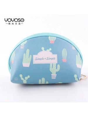 Cactus Circular Cosmetic Bag